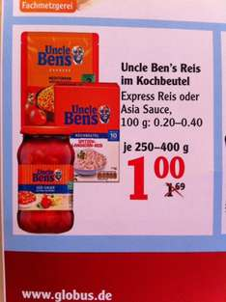 [Globus Kaiserslautern] - Uncle Ben's Reis & Sauce für 0€ (abzgl. Coupon)