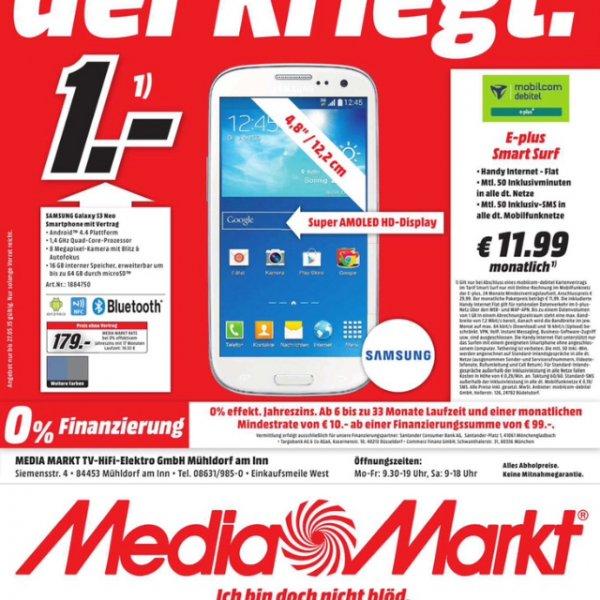 [Lokal] (MediaMarkt Mühldorf) Galaxy S3 Neo für 317,67 mit vertrag