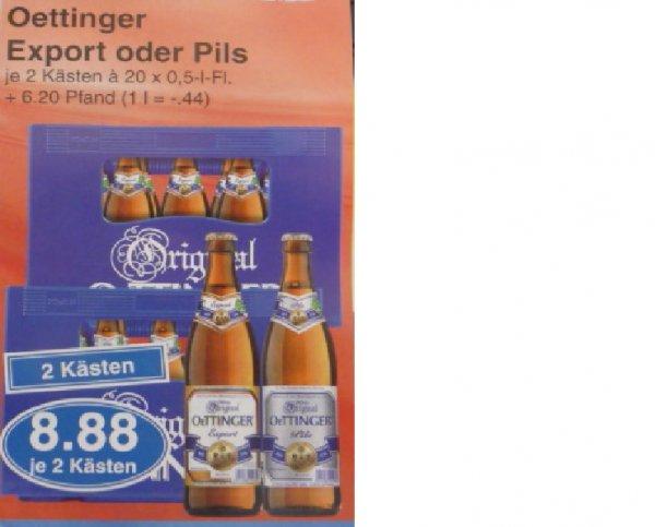 (Lokal) 2 Kästen Oettinger Export oder Pils für 8,88 € (Kasten für 4,44 €) bei Edeka Alzenau / Schöllkrippen / Mömbris