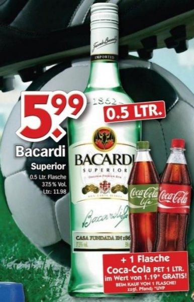 HOL'AB! Getränkemarkt: Bacardi (0,5L) plus Coca-Cola (1,0L) für zusammen nur 5,99€. (Umgerechnet auf 0,7L wären es 8,39€.)