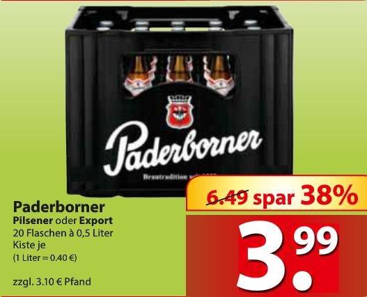 [Lokal@Famila Nordost] Paderborner Pils/Export 20x0,5l nur 3,99€+3,10€ Pfand (0,40€/Liter)