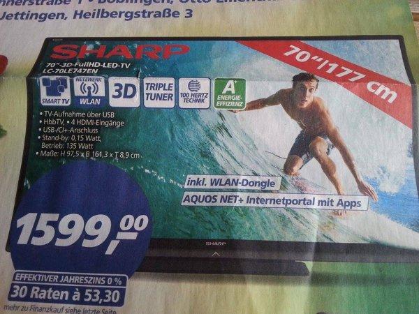 SHARP 70'' 3D-FullHD-LED TV 50 Jahre Real