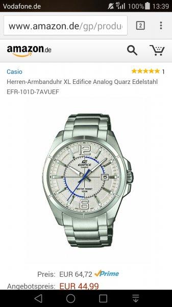 [Amazon] Casio Herren-Armbanduhr XL Edifice 44,99 EUR Blitzdeal