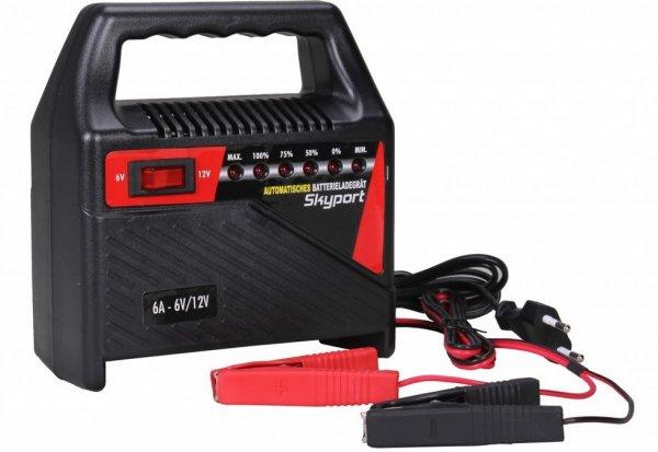 SKYPORT Batterie Ladegerät 6V / 12V  für Motorrad und KFZ Batterien bei Finebuy für 13,34€