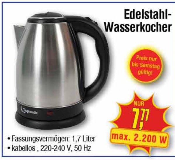 [Centershop] Edelstahl Wasserkocher 1,7l 2200W 7,77€