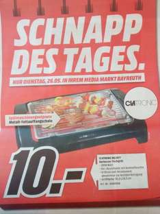 [Lokal MM Bayreuth] Clatronic BQ 2977 Barbecue-Tischgrill (Schnapp des Tages)