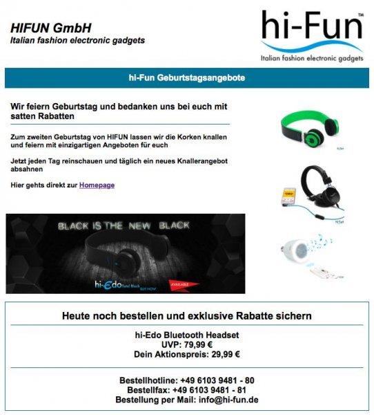Bluetooth Headset für 29,99€ anstatt 79,99€ und versandkostenfrei auf www.hi-fun.de