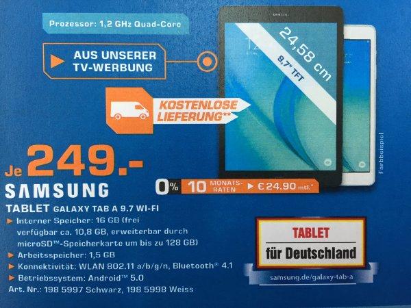 (Saturn Bundesweit TV-Werbung) Samsung Galaxy Tab A 9.7 Zoll WiFi 16GB ab 244€ mit Newslettergutschein