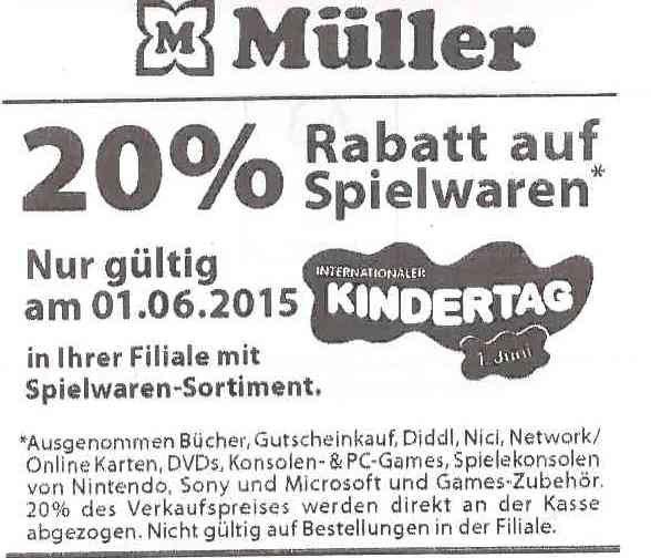 20% Rabatt auf Spielwaren bei Müller (bundesweit) am 01.06.2015