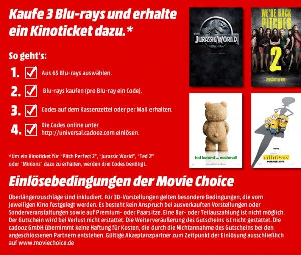 Kinogutschein + 3 Blu Rays zu 29.70€