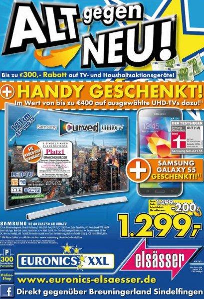 LOKAL: Euronics Sindelfingen Samsung UHD TV Kaufen + bis zu €300 Rabatt+ Galaxy S5 oder S5 mini Geschenkt