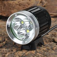3000lm 4-Mode White Bike Light - Black + Silver