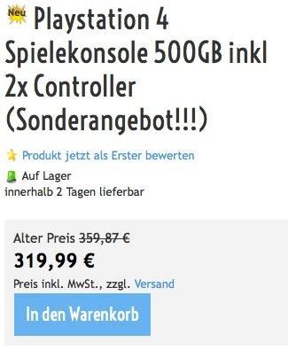 [hardwareversand24.net] PS4 inkl. 2 Controllern für 326,99 Euro