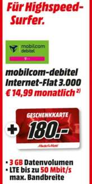 [lokal Bremen alle Media Märkte] Telekom Internet Tarif 3 GB inkl. LTE für effektiv 8,74 durch Gutschein