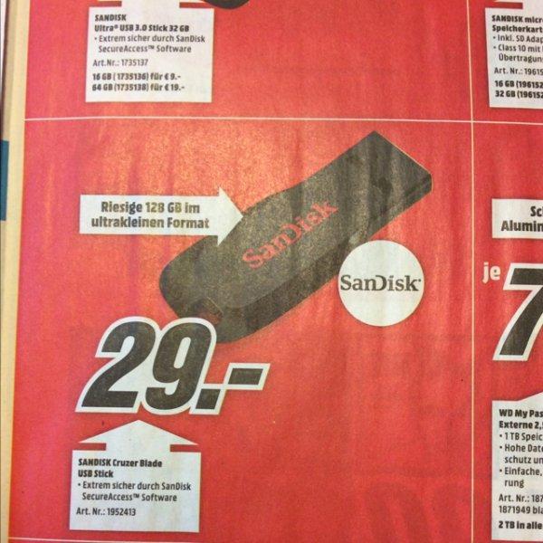[Mediamarkt.de und Lokal Esslingen] 128gb SANDISK Cruzer® Blade™ USB Flash-Laufwerk