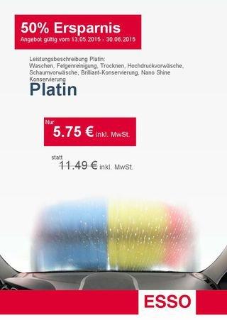 """-LOKAL- 5,75 € Autowäsche Angebot - PLATIN-Wäsche - ESSO Gelsenkirchen - statt 11,49 € beim download der """"DankeTanke - APP"""""""