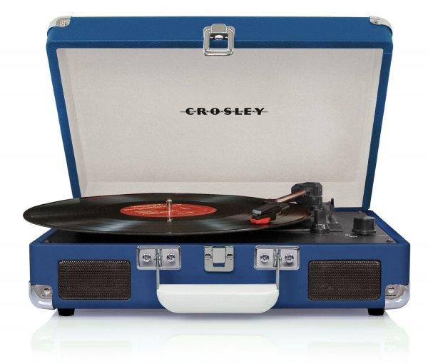 """Crosley Cruiser Turntable Tragbarer Schallplattenspieler mit eingebauten Stereo-Lautsprechern im """"Aktenkoffer""""-Design - Blau - für 36,01 € @Amazon.it"""