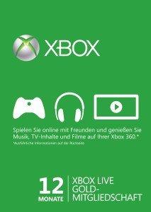 [gameladen.com] Xbox Live Gold 12 Monate Mitgliedschaft Card