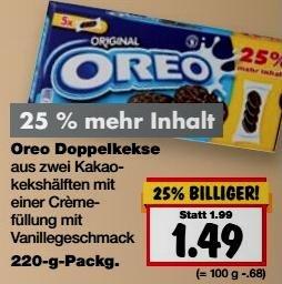 [Kaufland KW23] 80 Oreo-Kekse für 3,96 € (4 x Angebot + 25 % Gratis + Coupon)