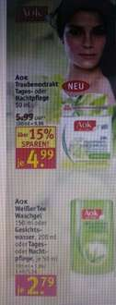 Rossmann AOK Traubenextrakt Tages oder Nachtpflege 3,69 Dealpreis