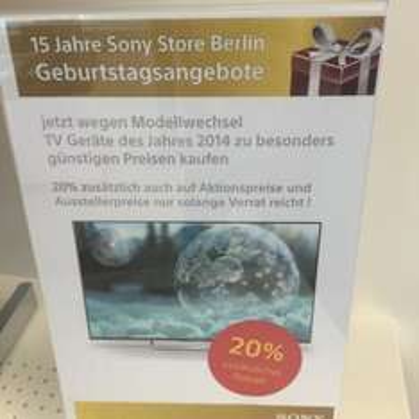 Sony Store Berlin 20% auf alle Fernseher inkl. Versand Deutschlandweit