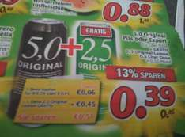 [Lokal Marktkauf Nbg-Thon] 5,0 Original Dosenbier + 2,5 Radler
