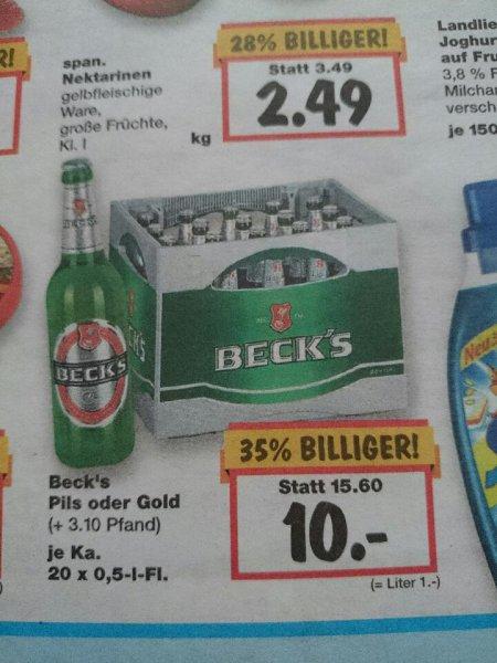 [Kaufland Super-Weekend] Beck's Pils oder Gold 20x0,5l für 10€ -- vom 04.06.-06.06. -- evtl. bundesweit