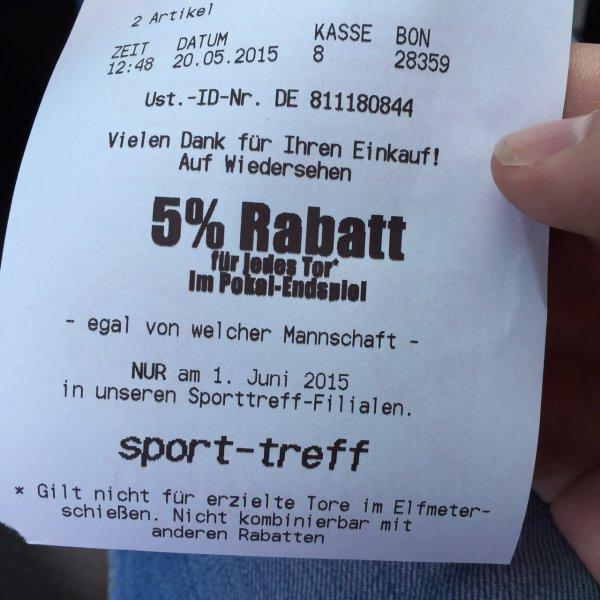 Sport-Treff für jedes Tor im DFB-Pokal Endspiel 5%