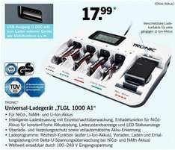[LIDL] Tronic Ladegerät TLGL 1000 (NiCd, NiMH, Li-Ion, USB 1A) für 17,99€ ab Montag 01.06