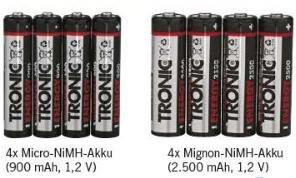 [LIDL] Tronic NiMH Akkus 4er Pack für 2,99€ AA (2500 mAh, 1,2V) / AAA (900mAh, 1,2V) ab Monatg 01.06