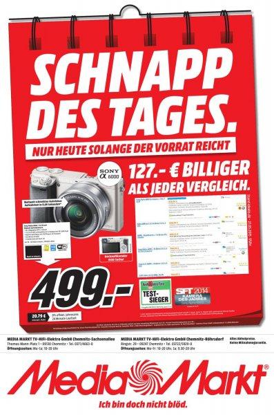 "[Lokal Mediamarkt Chemnitz] Sony Alpha 6000 Systemkamera inkl. SEL-P1650 Objektiv (24 Megapixel, (3"") LCD-Display, Exmor APS-C Sensor, Full-HD, High Speed Hybrid AF) für nur 499,-€.Nur am 01.06"