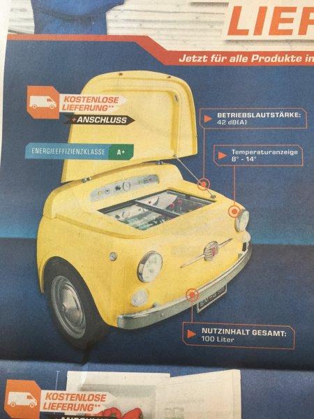 Lokal? Saturn Stuttgart & Esslingen: SMEG Minibar 500 gelb Fiat 500 Style. Kostenfrie Lieferung und Anschluss!! Ideal 6.999.-