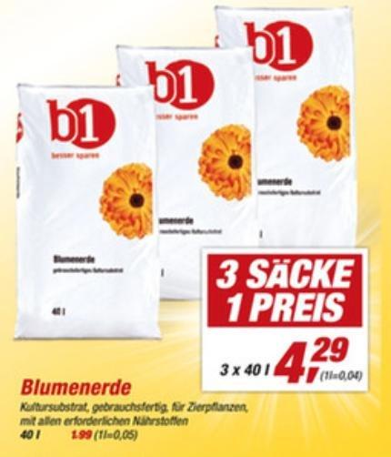 [Toom Baumarkt/Bundesweit?] B1 3x40L (120L) Blumenerde für 4,29€ (0,04€/l) 08.06.-12.06.