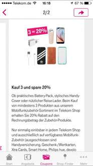 Kauf 3, spare 20%. Coupon Telekom Shop App