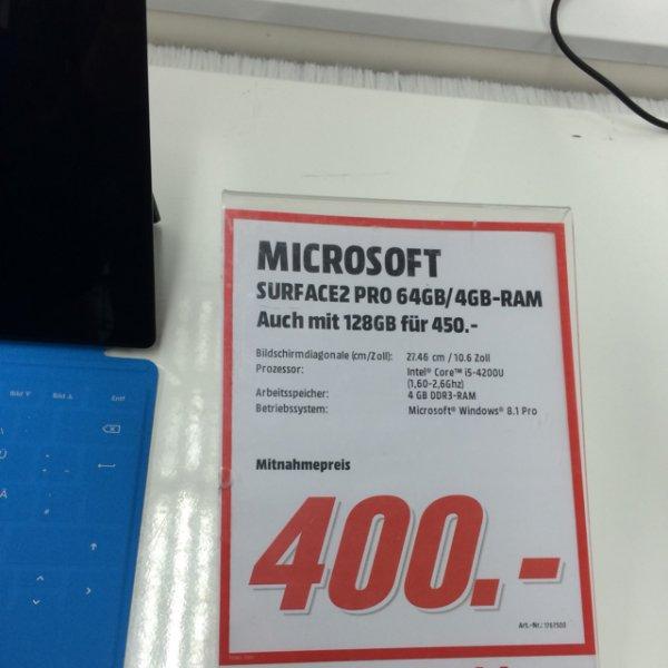 [Lokal Hamburg Billstedt, Mediamarkt] Microsoft Surface 2 Pro 128gb i5 mit Tastatur Touch Cover (bei Nachfrage beim Verkäufer)