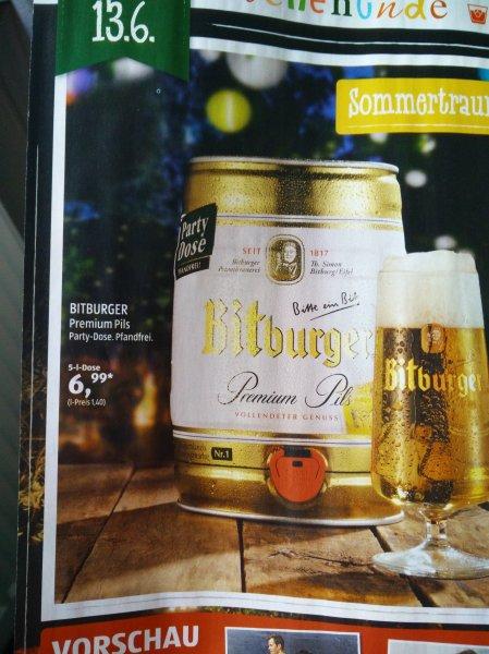 [Aldi Süd, ab 13.6] Bitburger Premium Pils 5-l-Partydose