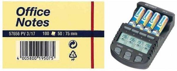 """Voltcraft™ - Akkulade- und Pflegegerät """"IPC-1L"""" & Tesa Office-Notes (100 Blatt) ab €19,22 [@Conrad.de]"""