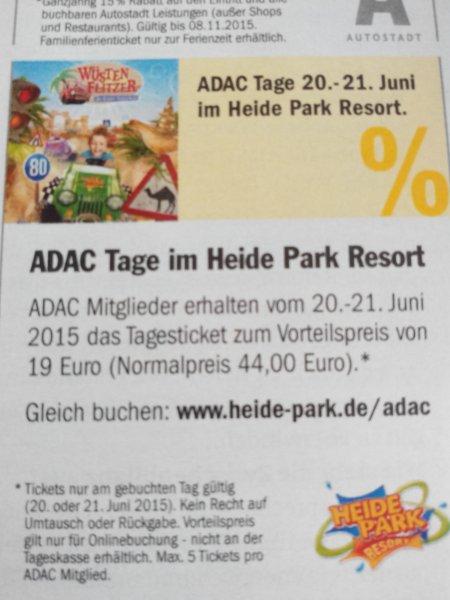 ADAC Tag im Heide Park Resort am 20 oder 21.6 für 19 euro