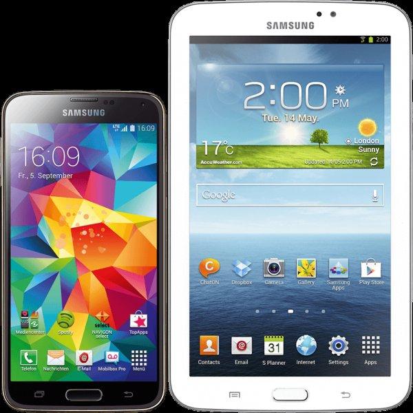 [Telekom] Samsung Galaxy S5 LTE+ (Snapdragon 805 + Adrene 420) (in allen Farben) + Samsung Galaxy Tab 3 7.0 Lite für 389,95€