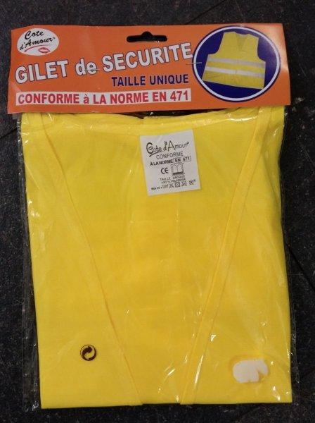 Warnweste in reflektierenden Gelb mit silbernen Reflektorenstreifen entspricht DIN EN 471  @ebay 1€