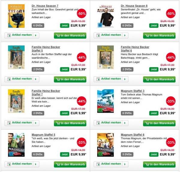 TV Serien DVD Boxen - verschiedene Serien für 9,99€ z.B. Dr. House, Familie Heinz Becker, Magnum, Navy CIS usw.