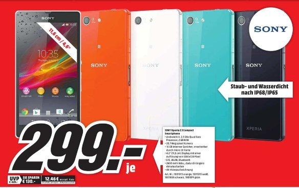 [Lokal Mediamarkt Dessau]Sony Xperia Z3 Compact Smartphone (11,7 cm (4,6 Zoll) HD-TRILUMINOS-Display, 2,5 GHz-Quad-Core-Prozessor, 20,7 Megapixel-Kamera für 299,-€