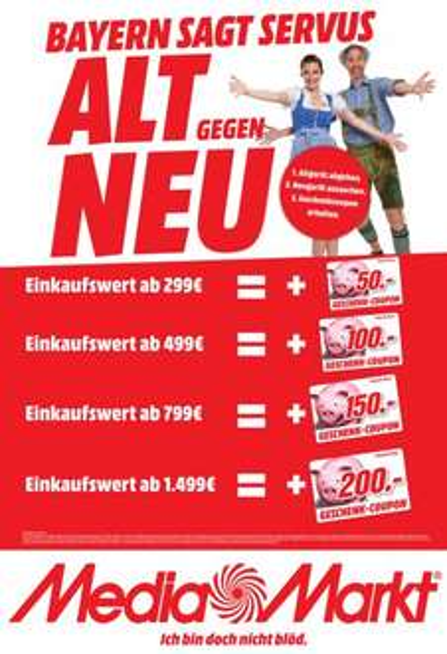 [lokal Bayern] Geschenk-Coupon on top ab einem Einkaufswert von 299€ @ Media Markt