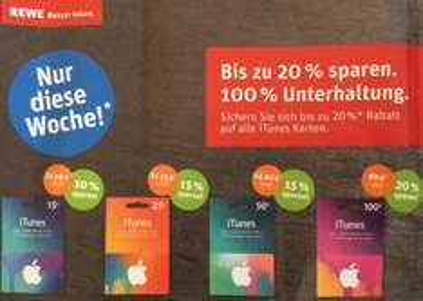 REWE - itunes bis zu 20% Rabatt auf alle iTunes Karten