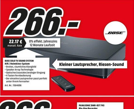 (lokal Dorsten)Bose Solo TV Sound System für 266€ @ Mediamarkt
