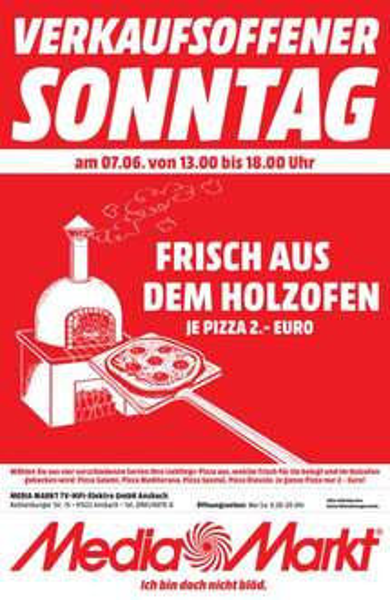 [lokal Ansbach / Lichtenfels] Holzofenpizza für 2€ am 07.06. in Ansbach / Gratis Fass Bier ab einem Einkaufswert von 100€ in Lichtenfels