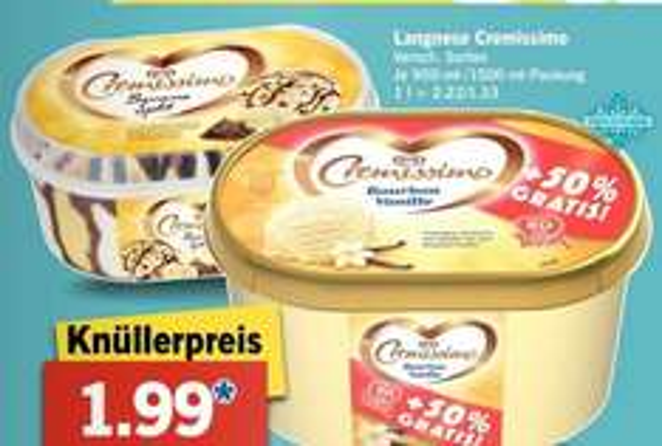 [LIDL Bundesweit] Ab Montag 8.6. Langnese Cremissiomo Vanille 1500ml