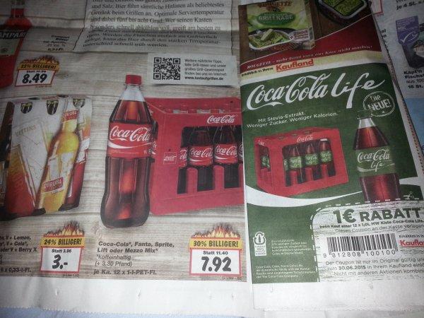 [Kaufland evtl. überregional] Coca Cola Life 12x 1l Kasten für 6,92€ / Melitta Bella Crema Kaffeebohnen 1000g 7,99€