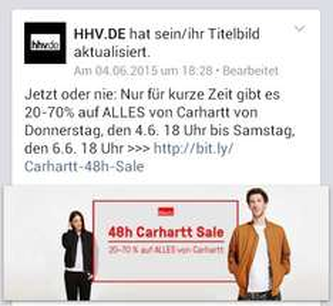 HHV.de 48h Sale. 20-70% Rabatt auf das gesamte Sortiment von Carhartt