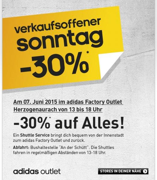 [lokal Herzogenaurach] Adidas Factory Outlet - 30% Rabatt auf alles am Sonntag 7.6.